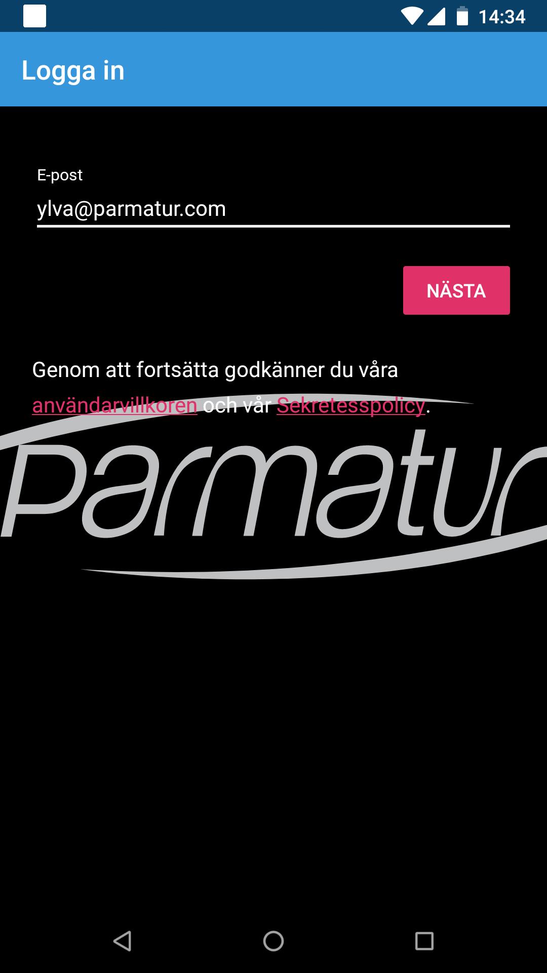 Parmatur App - Register e-mail
