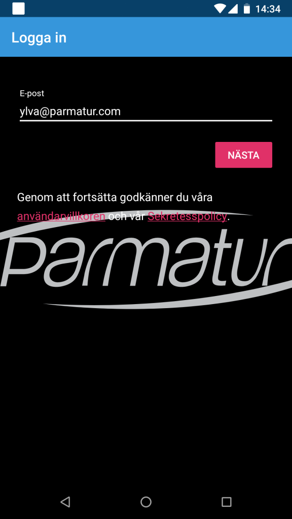 Parmatur App - Register e-mail